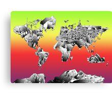 World Map landmarks 4 Canvas Print