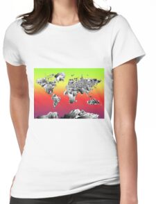World Map landmarks 4 Womens Fitted T-Shirt