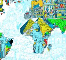 World Map landmarks 5 Sticker