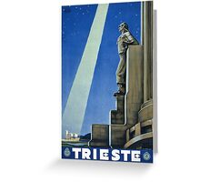 Trieste Italy Vintage Travel Poster Restored Greeting Card