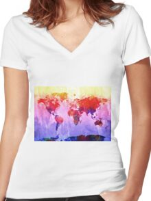 World Map watercolor 2 Women's Fitted V-Neck T-Shirt