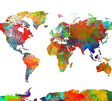 World Map watercolor 4 by BekimART