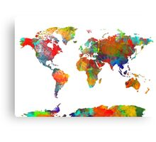 World Map watercolor 4 Canvas Print