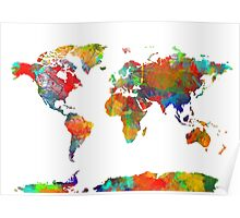 World Map watercolor 4 Poster