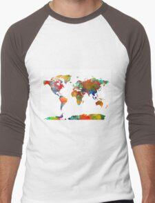 World Map watercolor 4 Men's Baseball ¾ T-Shirt