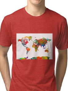 World Map watercolor 4 Tri-blend T-Shirt