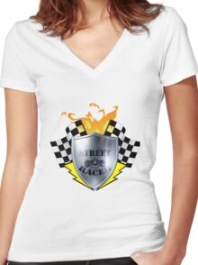 street racer style Women's Fitted V-Neck T-Shirt