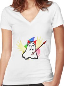 funny ghost  Women's Fitted V-Neck T-Shirt