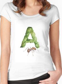 Ant watercolor alphabet painting Women's Fitted Scoop T-Shirt