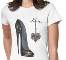 Black Stiletto Shoe and Heart Womens Fitted T-Shirt