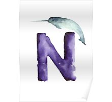 Narwahl watercolor alphabet painting Poster