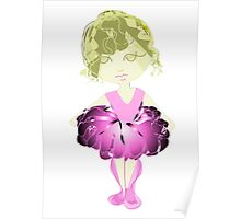 Cute Ballet Dancer Girl Digital Art Poster
