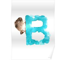 Sparrow watercolor alphabet painting Poster
