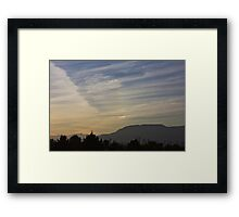 Sunset and office towers Framed Print