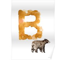 Watercolor alphabet bear poster Poster