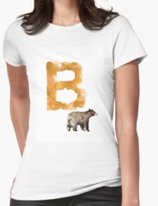 Watercolor alphabet bear poster Womens Fitted T-Shirt