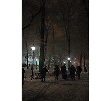 Winter Scene at night, Krakow Photographic Print