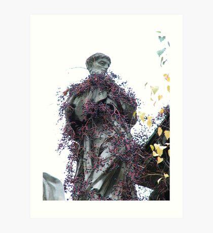 Statue covered in creeper Art Print
