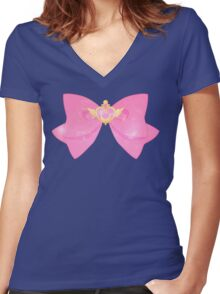 Galaxy Special Sailor Moon Crisis Moon Compact and Bow Women's Fitted V-Neck T-Shirt