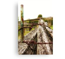 Fence: Stake, thorns and an old tree Canvas Print