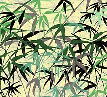 Bamboo Foliage, Leaves, Shoots - Green Yellow by sitnica