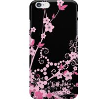 Cherry Blossom, Sakura Flowers - Pink Black  iPhone Case/Skin