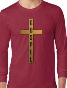 Gold Stone Gospel Cross Long Sleeve T-Shirt