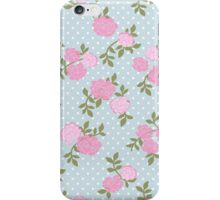 Shabby Chic, Polka Dots, Roses - Blue Pink Green  iPhone Case/Skin