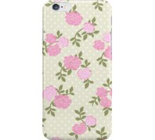 Shabby Chic, Polka Dots, Roses - Beige Pink Green  iPhone Case/Skin