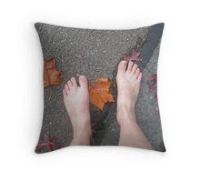 Autumn footsteps Throw Pillow