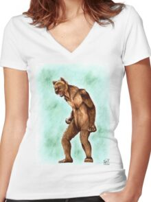 Hanimal Mode 11- Grizzly Women's Fitted V-Neck T-Shirt