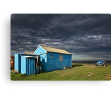 Blue hut and boat Canvas Print