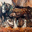 Draught Horses Team by Tanya Zaadstra
