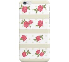 Shabby Chic, Stripes, Dots, Roses - Beige Red Green  iPhone Case/Skin