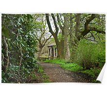 Woodland path and cottage Poster