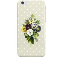 Pansies, Flowers, Leaves - Blue Yellow White iPhone Case/Skin