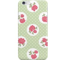 Shabby Chic, Polka Dots, Roses - Red Green iPhone Case/Skin