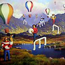 Connemara   Landscape with musicians balloons and notes by Alan Kenny