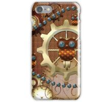 Steampunk, cute owl with clocks and gears iPhone Case/Skin