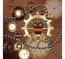 Steampunk, cute owl with clocks and gears Photographic Print