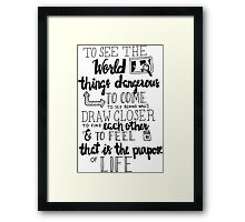 Walter Mitty Life Motto - Black Framed Print