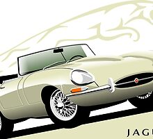 E-Type Jaguar Series 1 Roadster Old Englsh White by car2oonz