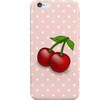 Cherries, Leaves, Stems, Fruits - Red Green iPhone Case/Skin