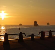EVENING SHIPPING LANES by RED-RABBIT
