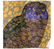 Wise Owl Against Floral Background Poster