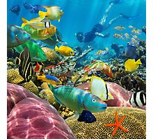 Man underwater coral reef and tropical fish Photographic Print
