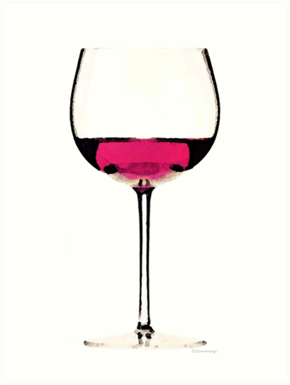 Abstract Red Wine Glass 1 by Sharon Cummings