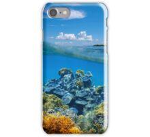 Over-under split view coral reef underwater iPhone Case/Skin