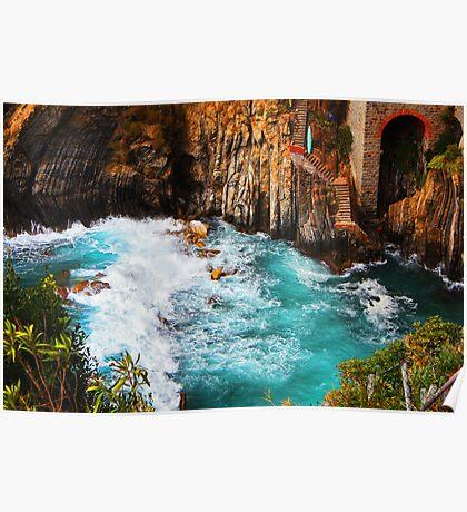 Crashing Waves at Riomaggiore Poster