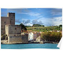 Coastal landscape the royal castle of Collioure Poster